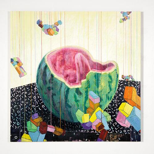 Melon d'eau à la langue: Peinture à l'huile sur bois, 152,4 x 152,4 cm, 2017