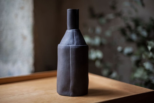 Black Ceramic Water Carafe / Vase XL by Saara Kaatra