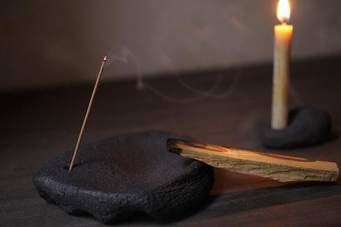 Ceramic Incense Holder/Smudge Burner II With Hole by atelier RYOKO