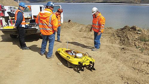 Batimetría con  Barcos no Tripulados de Presas de Relaves Mineros en Perú
