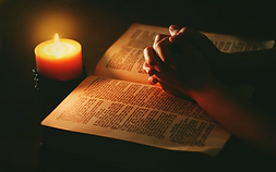 Bible, candle, prayer.png