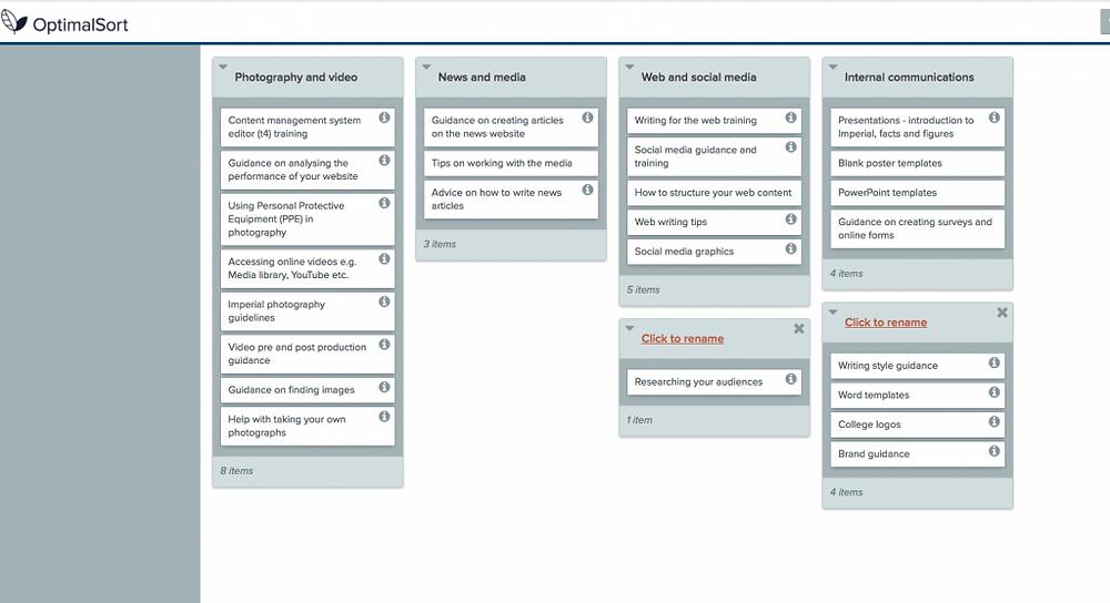 Website navigation card sorting