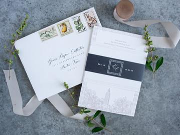 The Brouillettes   Baton Rouge, Louisiana Wedding Invitations   Capitol Park Museum