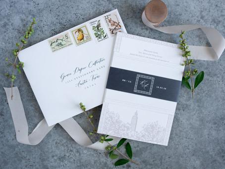 The Brouillettes | Baton Rouge, Louisiana Wedding Invitations | Capitol Park Museum