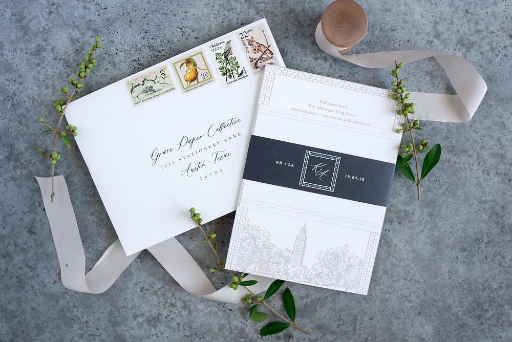 Baton Rouge Wedding Invitations, Capitol Park, Letterpress Wedding Invitations