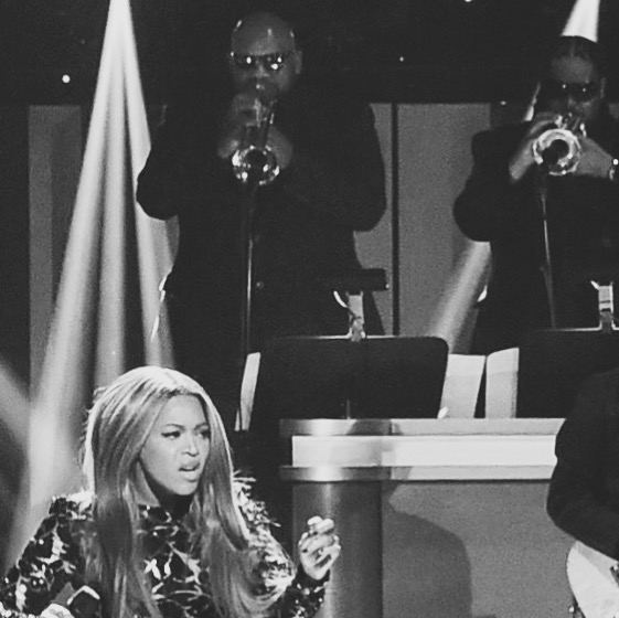 Rashawn playing trumpet for Beyonce