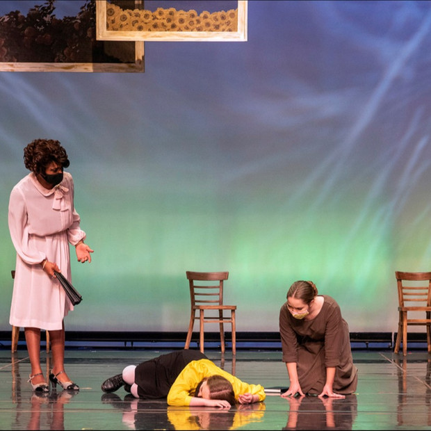 Derrived from Ball State University's production of The hildrens Hour by Lillian Helman Photo by Kip Shawgner (from left to right) Ogunde Snelling Jr, Laila Malak, Alexandra Chopson. Scenic by Josie Cordova, Costume by Monica Luna, Lighting by Darian Hrdlicka, Hair and Makeup by Gia Burlini