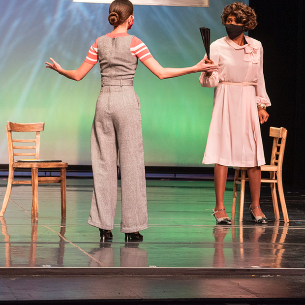 Derrived from Ball State University's production of The hildrens Hour by Lillian Helman Photo by Kip Shawgner (from left to right) Riley Sigler, Ogunde Snelling Jr. Scenic by Josie Cordova, Costume by Monica Luna, Lighting by Darian Hrdlicka, Hair and Makeup by Gia Burlini