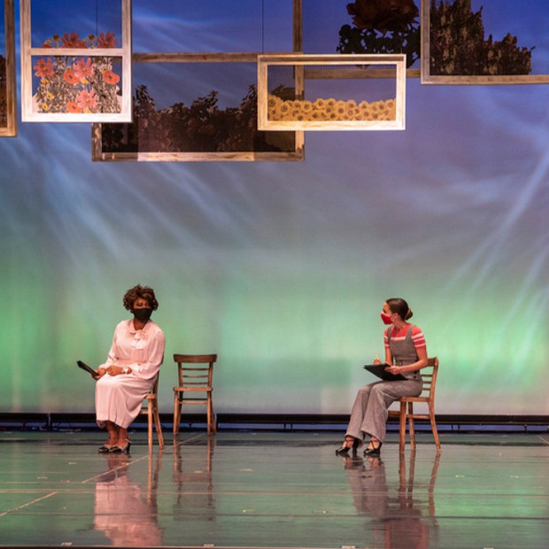 Derrived from Ball State University's production of The hildrens Hour by Lillian Helman Photo by Kip Shawgner (from left to right) Ogunde Snelling Jr. Riley Sigler. Scenic by Josie Cordova, Costume by Monica Luna, Lighting by Darian Hrdlicka, Hair and Makeup by Gia Burlini