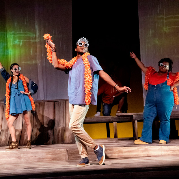 Photo Derived from Ball State's production of Marcus; Or The Secret Of Sweet. Directed be Matt Reeder and Andre Garner, Set design by Kerry Chipman, Costume by Emily Bouche, Lights and projection by Connor Blackwood, Photography by Kip Shawger. From left to right Hannah Whitley, Ogunde Snelling, Janae Robinson