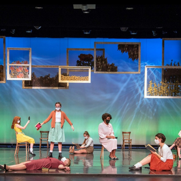 Derrived from Ball State University's production of The hildrens Hour by Lillian Helman Photo by Kip Shawgner (from left to right) Lizzie Nguyen, Rachel Harrold, Emma Yanus, Zara McCord, Betsy Sandifer, ongred Lowery, Ogunde Snelling Jr, Parker Hickey, Regan Grant. Scenic by Josie Cordova, Costume by Monica Luna, Lighting by Darian Hrdlicka, Hair and Makeup by Gia Burlini