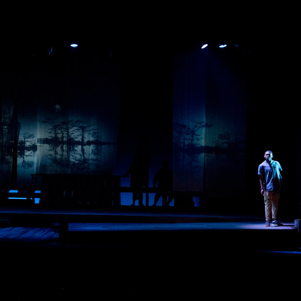 Photo Derived from Ball State's production of Marcus; Or The Secret Of Sweet. Directed be Matt Reeder and Andre Garner, Set design by Kerry Chipman, Costume by Emily Bouche, Lights and projection by Connor Blackwood, Photography by Kip Shawger.