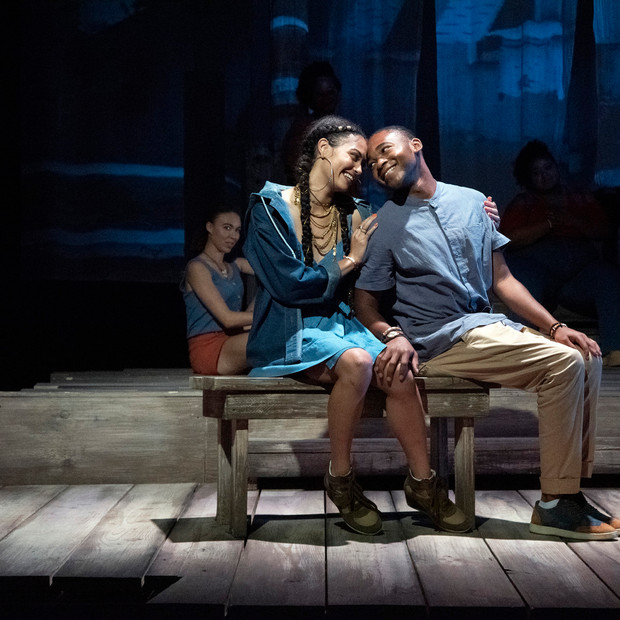 Photo Derived from Ball State's production of Marcus; Or The Secret Of Sweet. Directed be Matt Reeder and Andre Garner, Set design by Kerry Chipman, Costume by Emily Bouche, Lights and projection by Connor Blackwood, Photography by Kip Shawger. Hannah Whitley and Ogunde Snelling Jr.