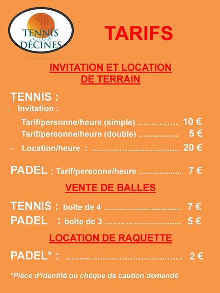 affiche Tarif Sports raquettes Actuel-pa