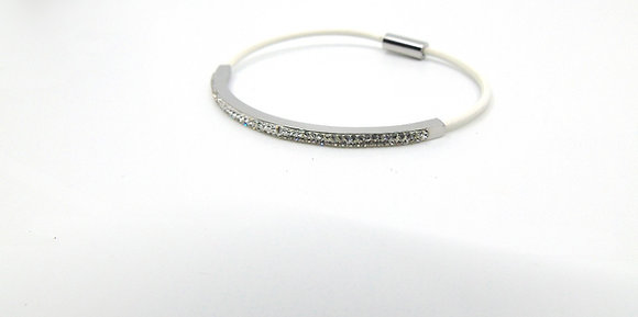 Bracelet mi-cuir blanc