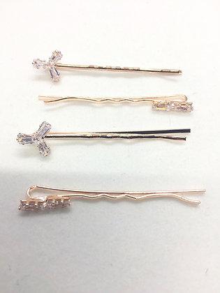 Épingles à cheveux fleurs en cristal