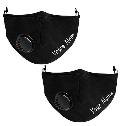 Masque facial personnalisé noir / brodé / Junior