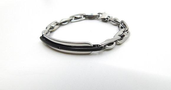 Bracelet Grosses Mailles et Cuir