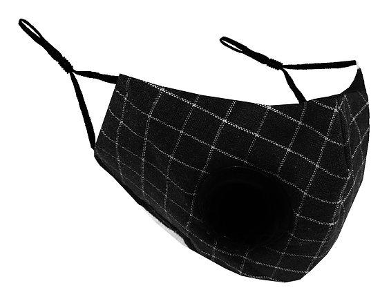 Masque facial avec valve pour adultes tissu a carreaux noir MF-17