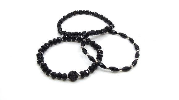 Trio de bracelet noir
