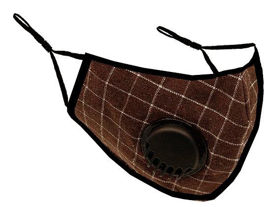 Masque facial avec valve pour adultes tissu a carreaux brun MF-16