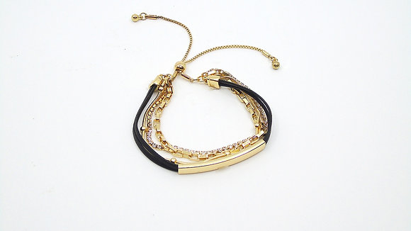 Bracelet cuir et or