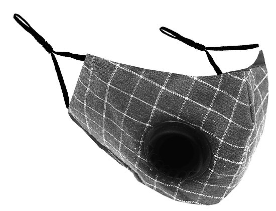 Masque facial avec valve pour adultes tissu a carreaux MF-18