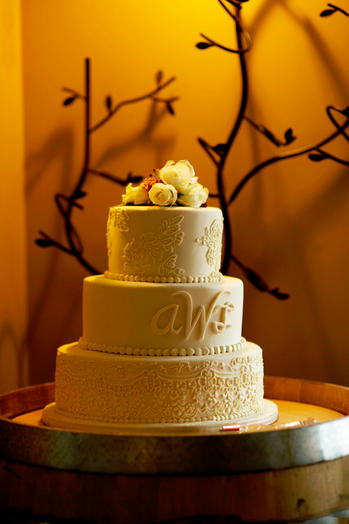 Bride's Lace Dress Cake with Monogram