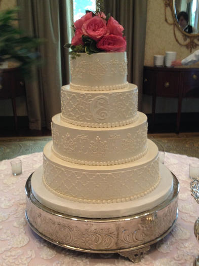Lace and Monogram Cake with Flower Topper