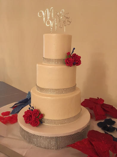 Classic White with Bling Border and Red Roses