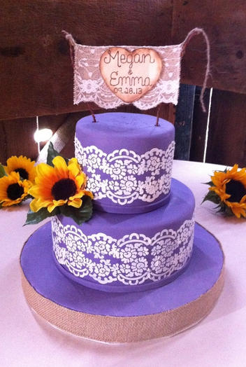 Purple with Lace and Sunflowers