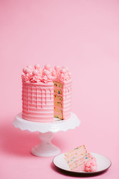 Pink Party Cake sliced