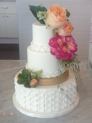 Modern Pleats with Gold Tier and Flowers