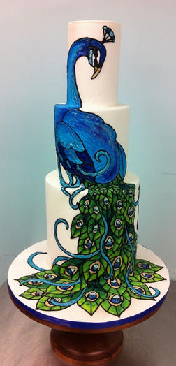 Painted Peacock Cake