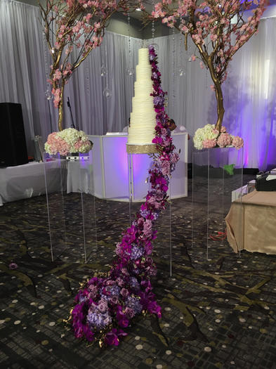 Modern Piped Lines Design with Large Floral Waterfall