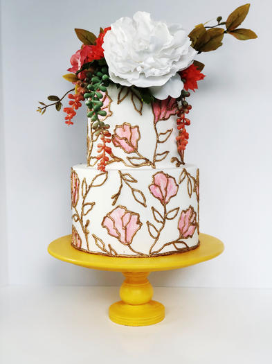 Gold Lined Watercolor Flowers with Flower Topper