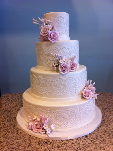 Lace Sash with Pink Flower Accents