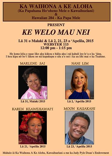 Ke Welo Mau Nei Spring 2015