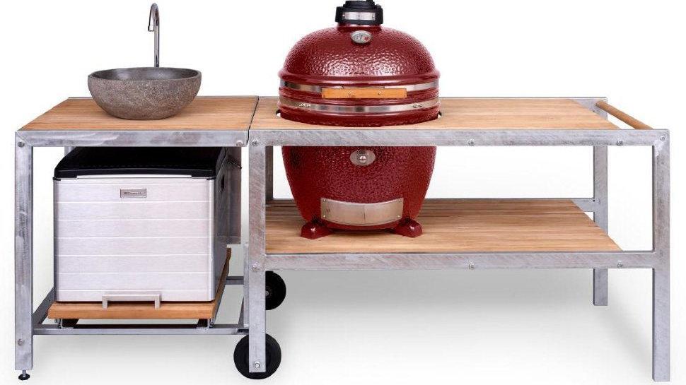 Керамический гриль Monolith Le Chef XL красный с барбекю-кухней