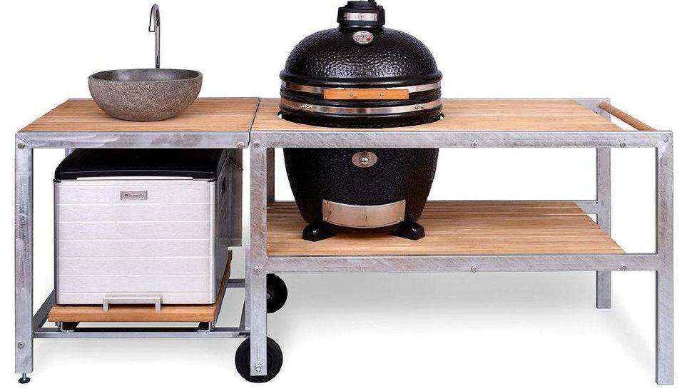 Керамический гриль Monolith Le Chef XL чёрный с барбекю-кухней