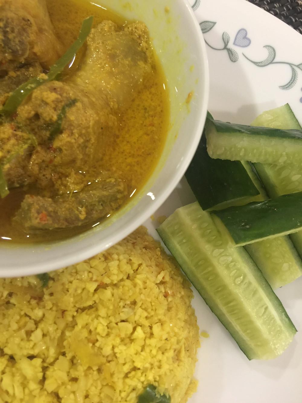 chicken masak lema cili padi, caulirice