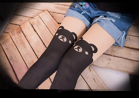 Teddy Bear Mock Thigh High Stockings