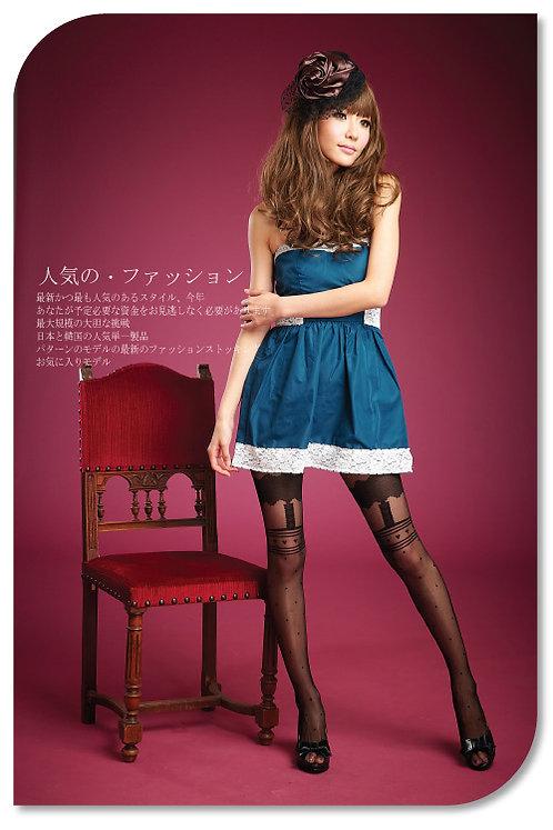 Mistress Of Hearts Mock Suspender Stockings