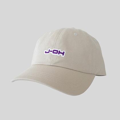 beige purple hat