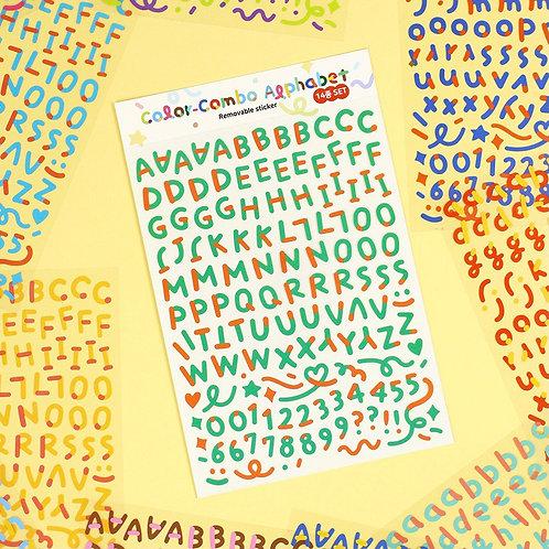 「PAPERIAN」カラーコンボアルファベット数字 ステッカー 14種セット