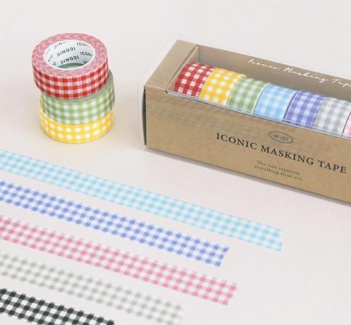 「ICONIC」マスキング テープ ギンガム 8種セット