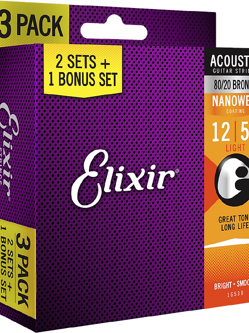 Elixir String Acoustic 16539 Bronze 3 Pack