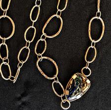 15. Boulder opal set in handmade sterling silver chain