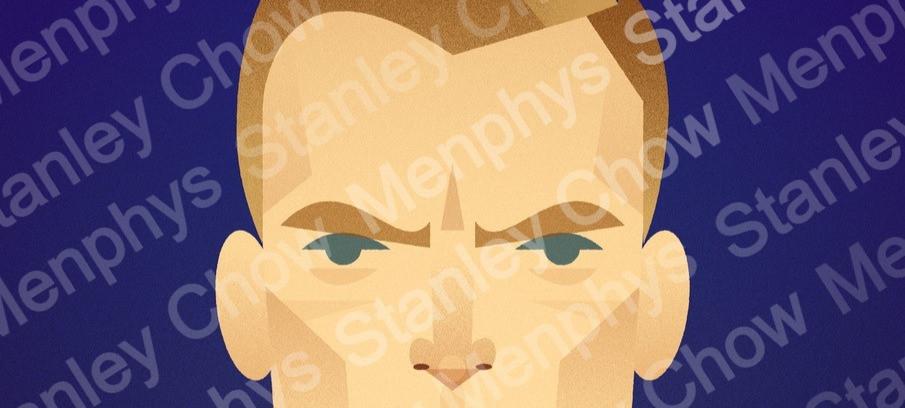 Menphys Stanley Chow illustration Jamie Vardy blue background
