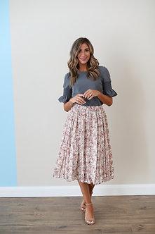 Pleated Midi Skirt-Peony Floral